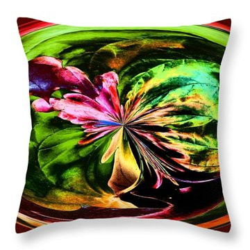 Throw Pillow featuring the digital art Water Lily Abstract Art by Annie Zeno