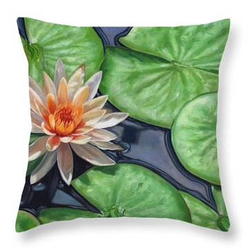 Water Lily Throw Pillow by David Stribbling