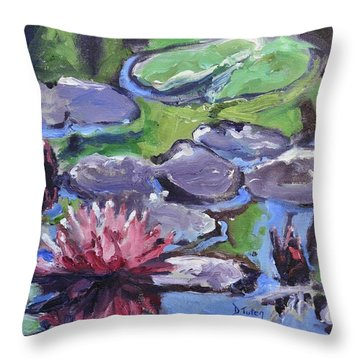 Water Lily Throw Pillow by Donna Tuten