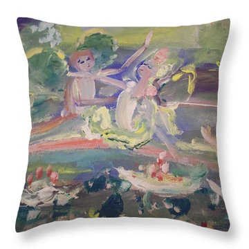 Water Lily Fairies Throw Pillow by Judith Desrosiers