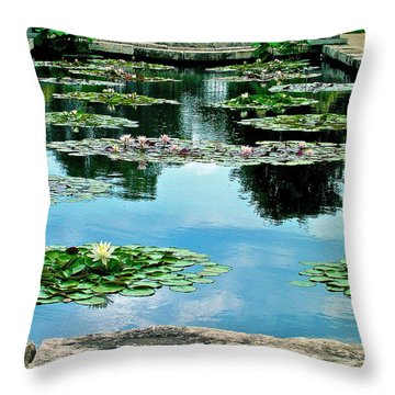 Water Lily Garden Throw Pillow by Zafer Gurel