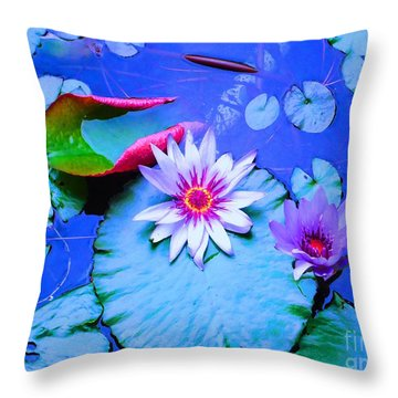 Water Lily I Throw Pillow by Ann Johndro-Collins