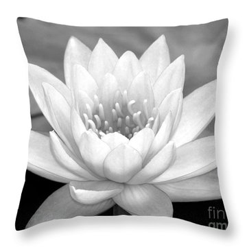 Water Lily In Black And White Throw Pillow