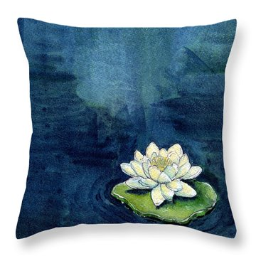 Water Lily Throw Pillow by Katherine Miller