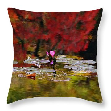 Throw Pillow featuring the photograph Water Lily Reflection by Lisa L Silva