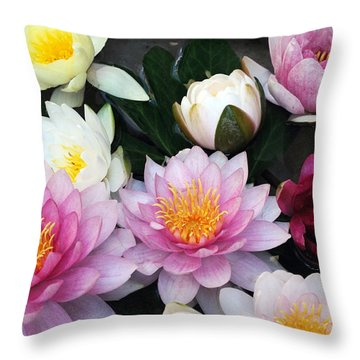 Throw Pillow featuring the photograph Water Lily Series -2  by Haleh Mahbod