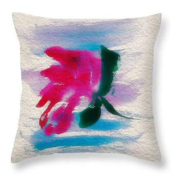 Throw Pillow featuring the mixed media Water Lily Solo by Frank Bright