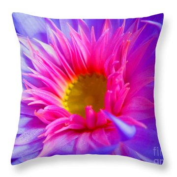 Water Lily Vibrant Throw Pillow