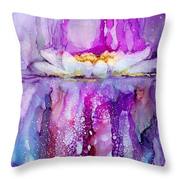 Water Lily Wonder Throw Pillow by Karen Mattson