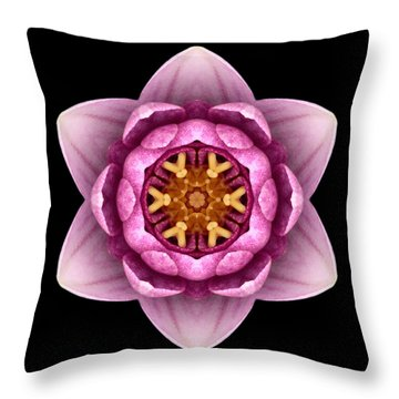 Water Lily X Flower Mandala Throw Pillow by David J Bookbinder