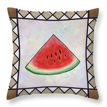 Water Melon Slice Throw Pillow by Linda Mears
