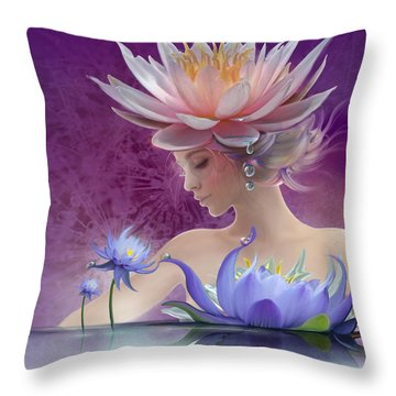 Water Of Life - In Violet Throw Pillow