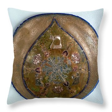 Throw Pillow featuring the mixed media Water Of Life Shield by Shahna Lax