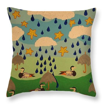 Throw Pillow featuring the painting Water Off A Duck's Umbrella by Erika Chamberlin