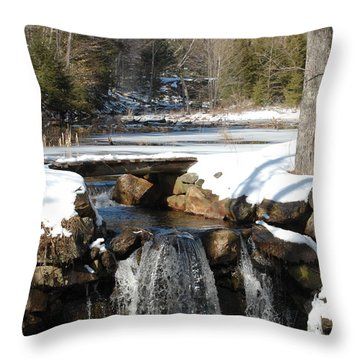 Throw Pillow featuring the photograph Water Over The Dam by Mim White