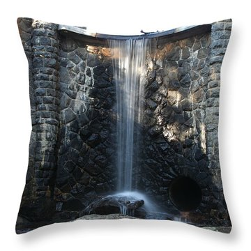 Water Over The Dam Throw Pillow by Rod Flasch