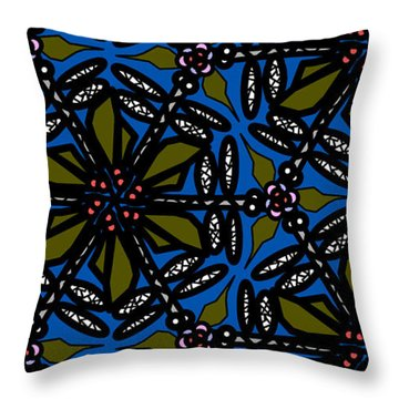 Throw Pillow featuring the digital art Water Plant And Dragonfly by Elizabeth McTaggart