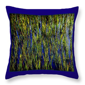 Water Reeds Throw Pillow by Karen Wiles