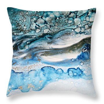 Water Ripples And Silver Linings Alcohol Inks Throw Pillow by Danielle  Parent