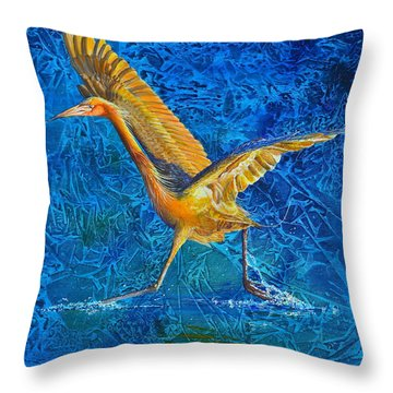 Throw Pillow featuring the painting Water Run by AnnaJo Vahle