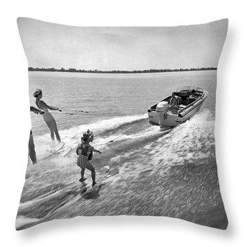 Water Skiing At Cypress Garden Throw Pillow