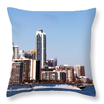 Water Skiing Throw Pillow by Carsten Reisinger