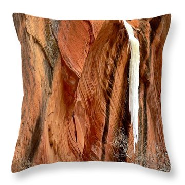 Icy Water Spout Kanarraville Utah  Throw Pillow by Deborah Moen