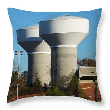 Throw Pillow featuring the photograph Water Tanks by Pete Trenholm