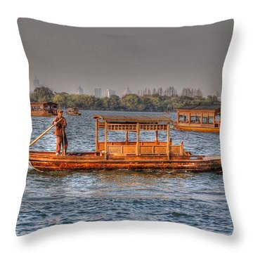 Water Taxi In China Throw Pillow
