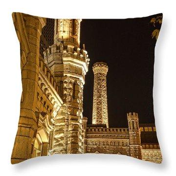 Water Tower At Night Throw Pillow by Daniel Sheldon