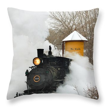 Water Tower Behind The Steam Throw Pillow by Ken Smith