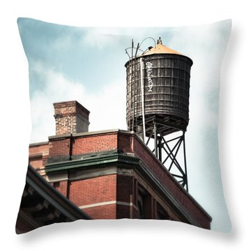 Water Tower In New York City - New York Water Tower 13 Throw Pillow by Gary Heller