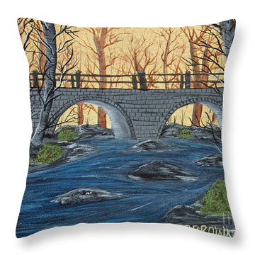 Throw Pillow featuring the painting Water Under The Bridge by Brenda Brown