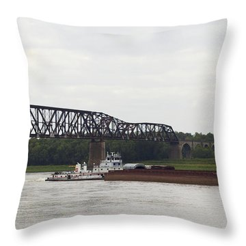 Throw Pillow featuring the photograph Water Under The Bridge - Towboat On The Mississippi by Jane Eleanor Nicholas