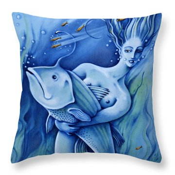 Throw Pillow featuring the painting Water by Valerie White