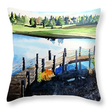 Throw Pillow featuring the painting Water Valley Golf by Tom Riggs