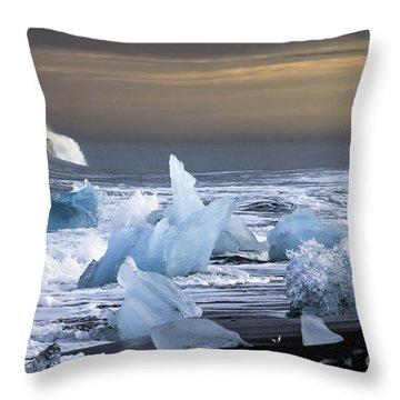 Water Versus Ice Throw Pillow by Gunnar Orn Arnason