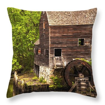 Throw Pillow featuring the photograph Water Wheel At Philipsburg Manor Mill House by Jerry Cowart