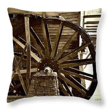 Throw Pillow featuring the photograph Water Wheel At The Grist Mill by Tara Potts