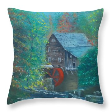 Water Wheel House  Throw Pillow by Dawn Nickel