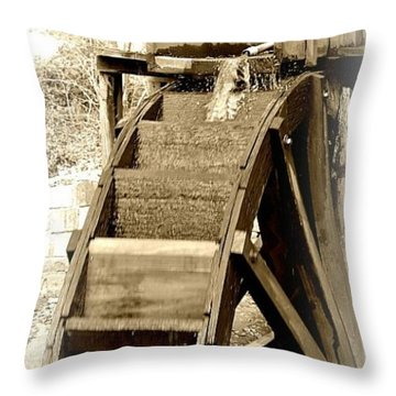 Water Wheel Throw Pillow by Tara Potts