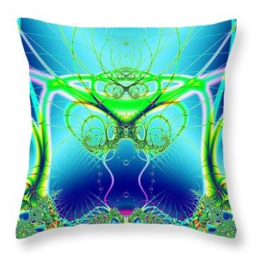 Water World Fractal Throw Pillow