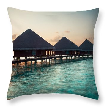 Waterbungalows At Sunset Throw Pillow