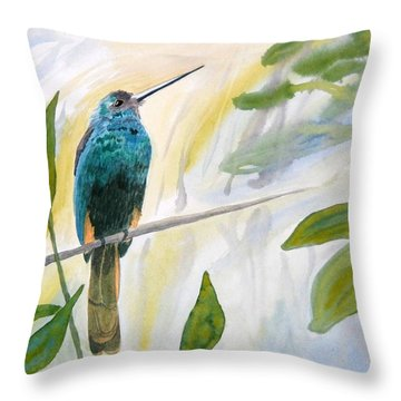 Throw Pillow featuring the painting Watercolor - Jacamar In The Rainforest by Cascade Colors