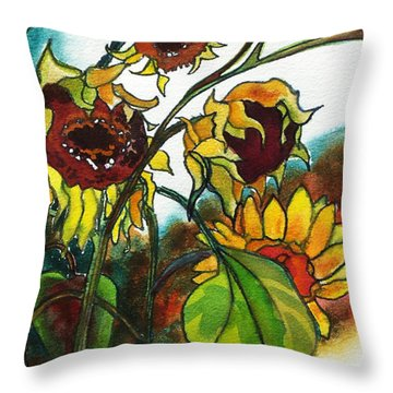Throw Pillow featuring the painting Sunflowers On The Rise by Kathy Braud