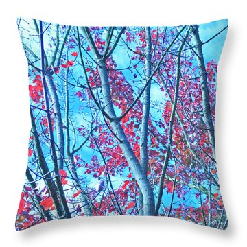 Throw Pillow featuring the photograph Watercolor Autumn Trees by Tikvah's Hope