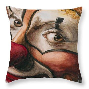 Watercolor Clown #1 Throw Pillow by Patty Vicknair