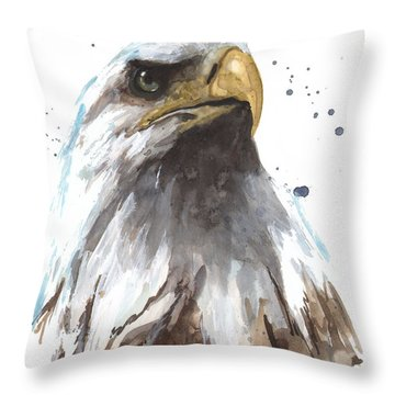 Watercolor Eagle Throw Pillow by Alison Fennell