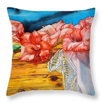 Watercolor Exercise Gladiolas Throw Pillow