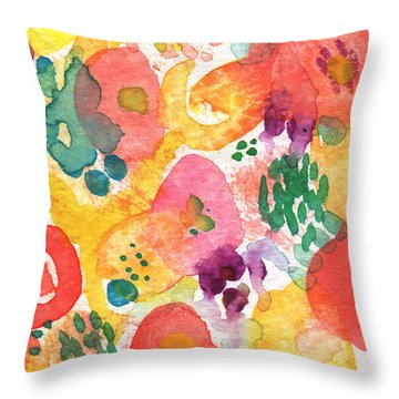 Watercolor Garden Throw Pillow